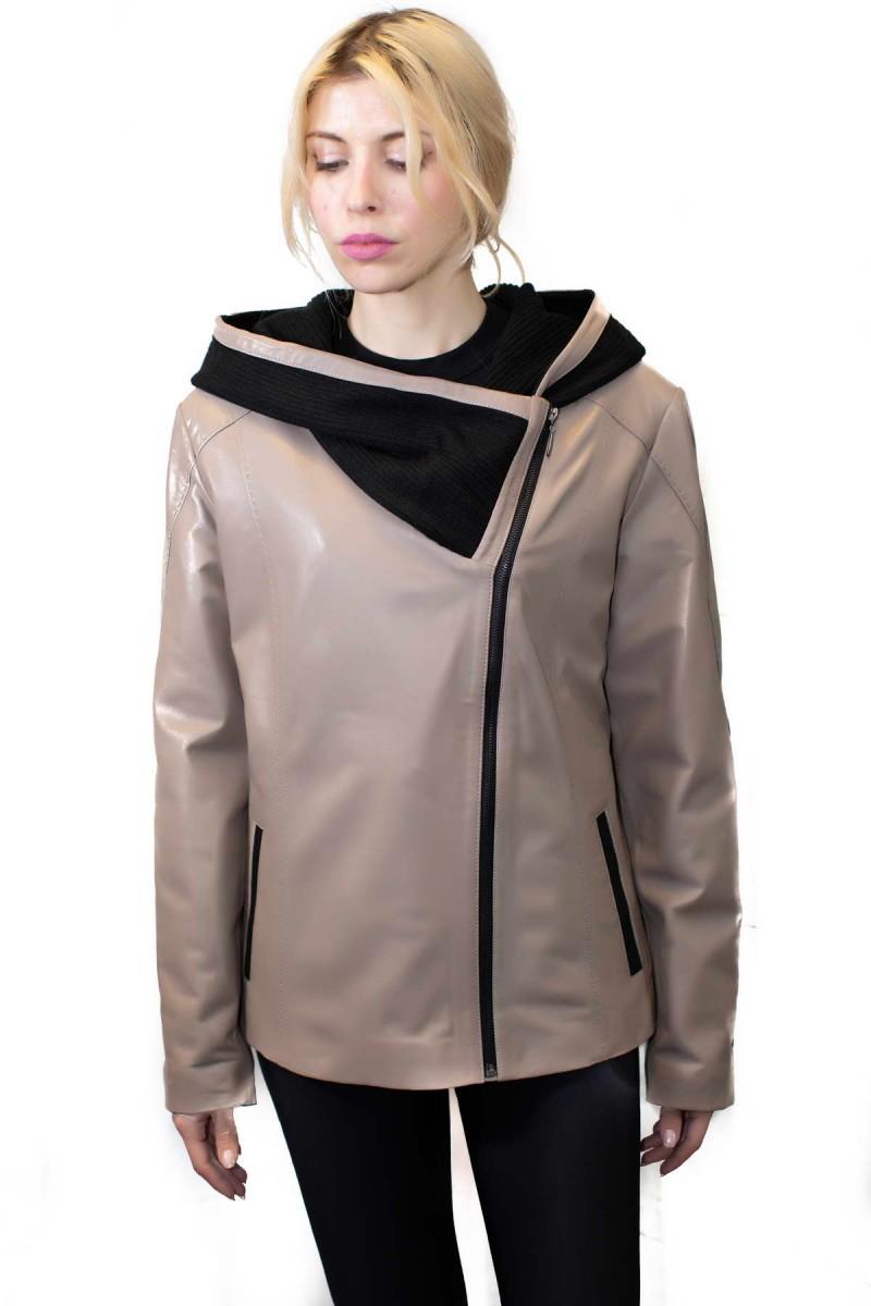#816  Δερμάτινο Jacket με κουκούλα πλεκτή