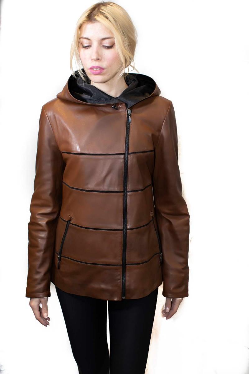 #820  Δερμάτινο Jacket με κουκούλα
