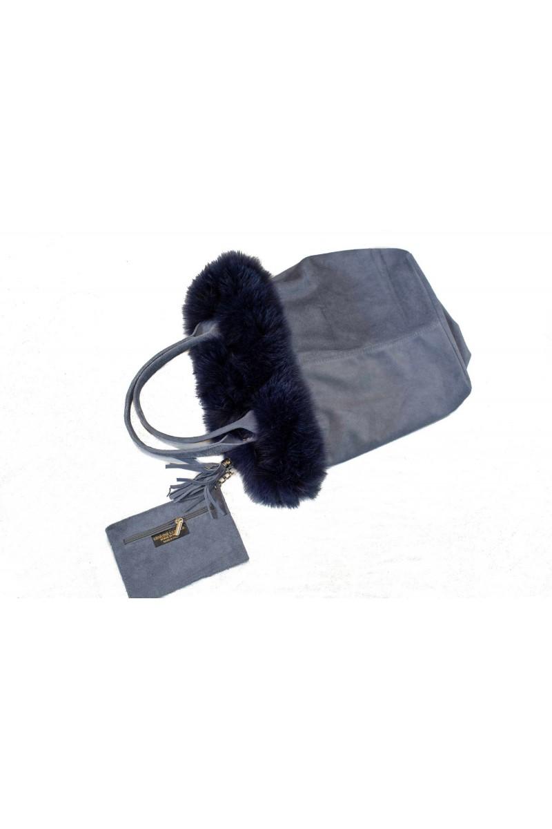 #724grey Τσάντα Σουέτ Πλαισιωμένη με Γούνα Fox