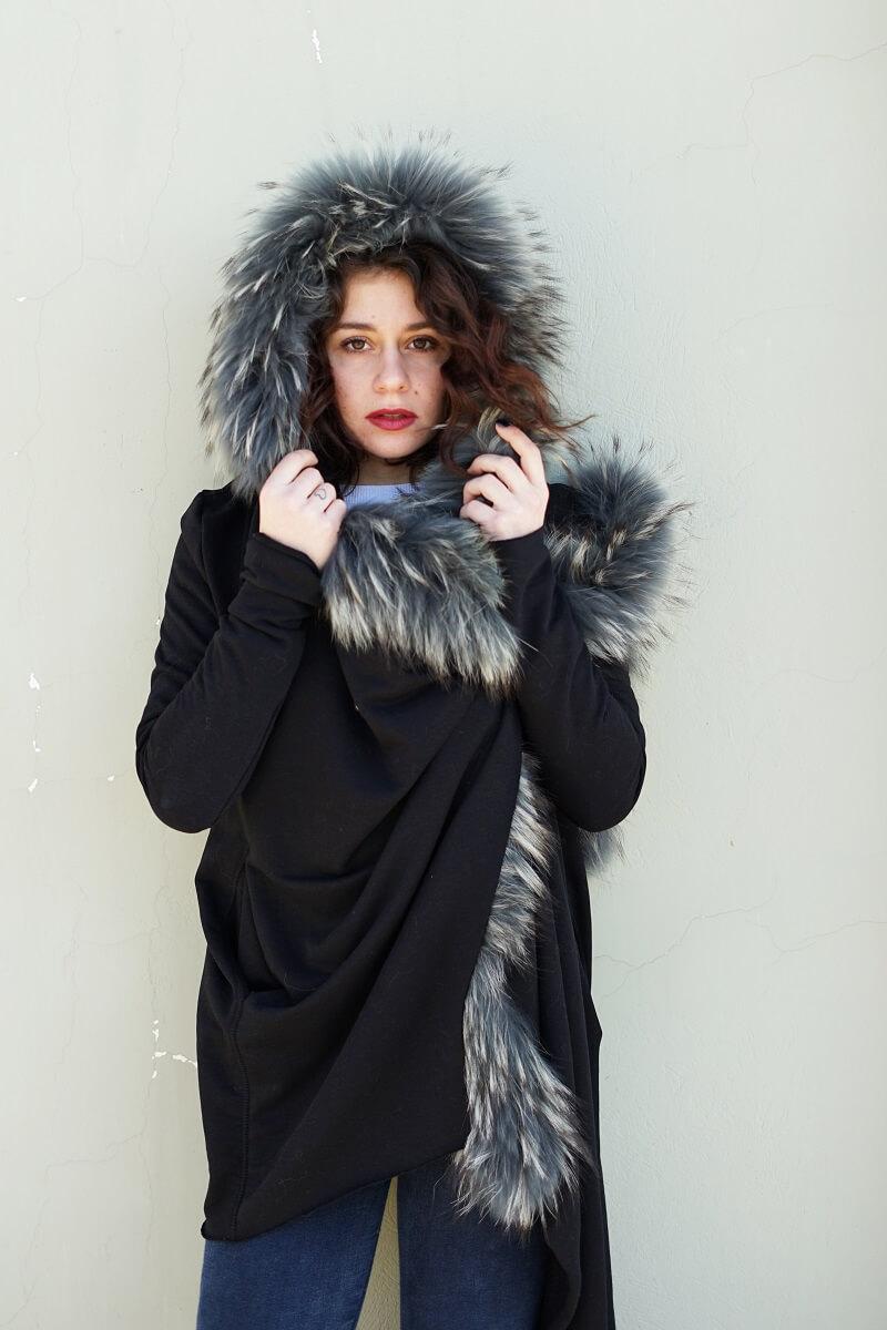 Ζακέτα βαμβακερή με κουκούλα πλαισιωμένη με Fox γούνα