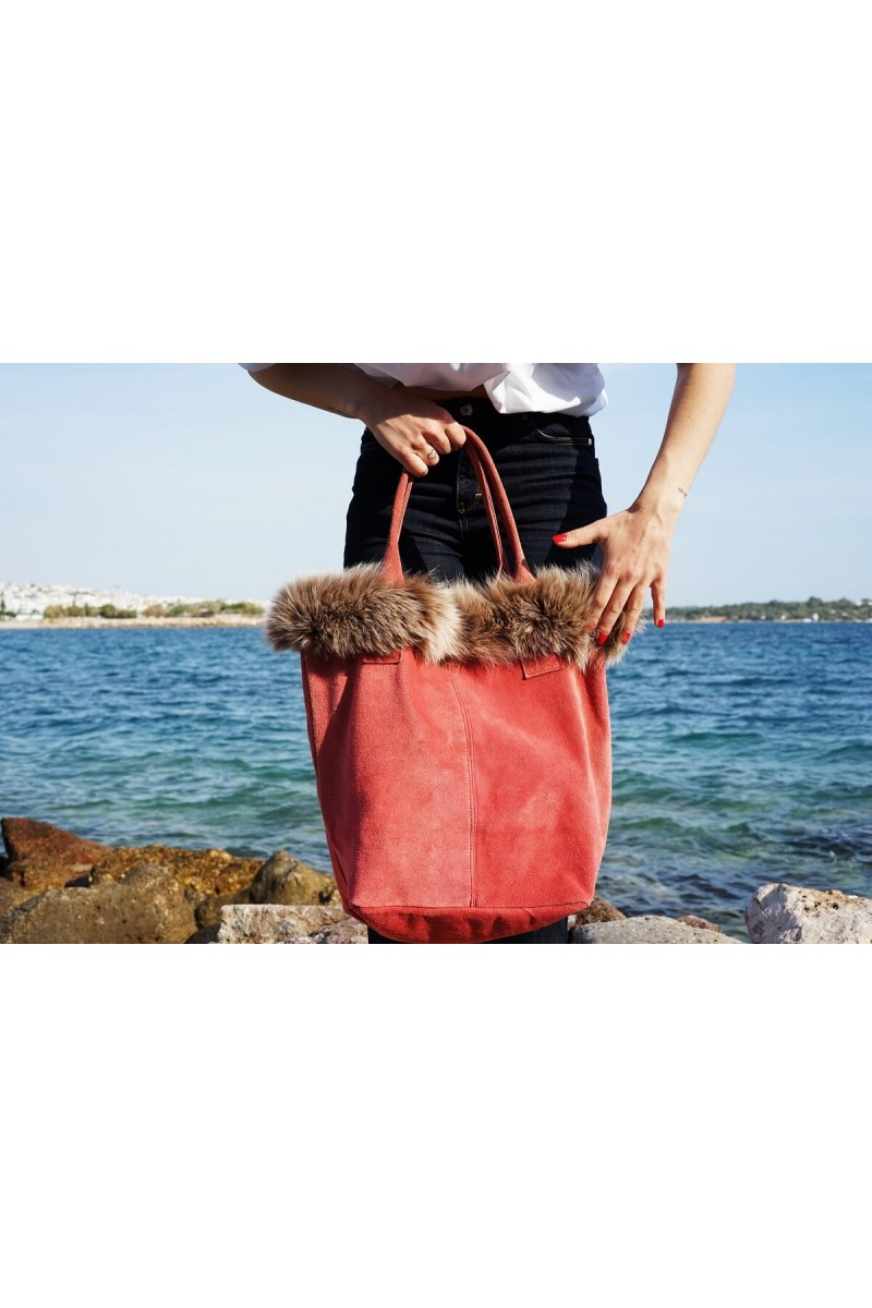 #724r Τσάντα Σουέτ Πλαισιωμένη με Γούνα Fox