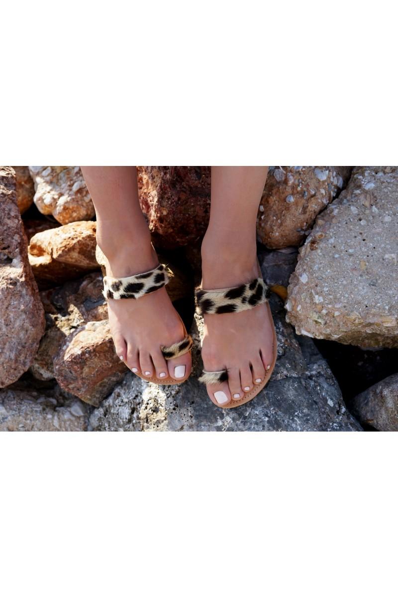 Δερμάτινα Σανδάλια Flip Flop Leopard