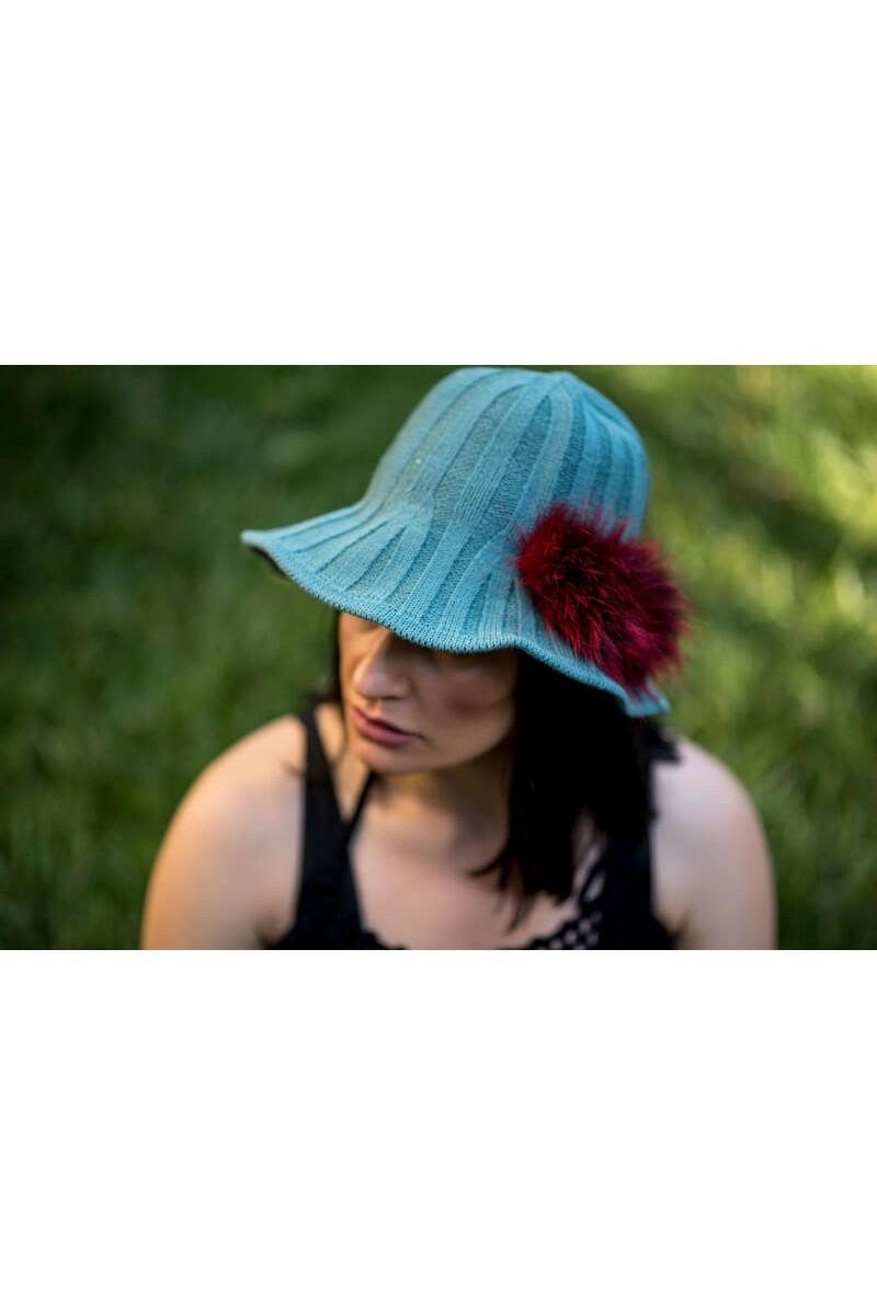 #783 Καπέλο πλεκτό με Γουνα Fox