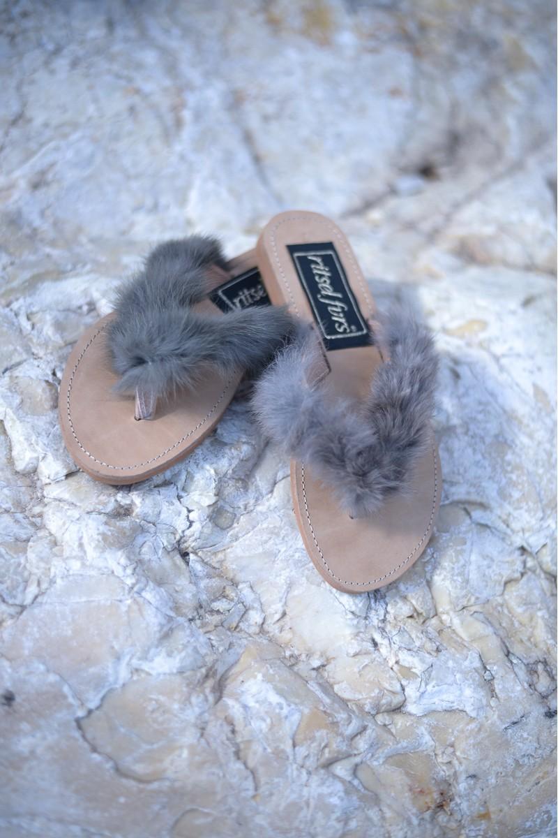 Δερμάτινα Σανδάλια Flip Flop με Γούνα Fox